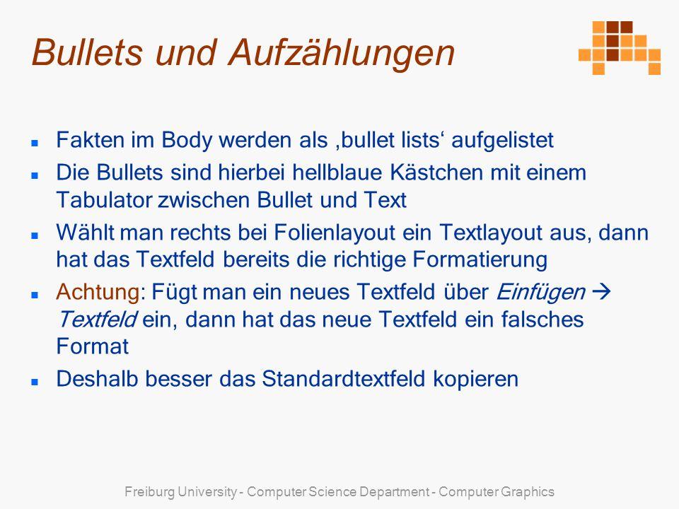 Bullets und Aufzählungen