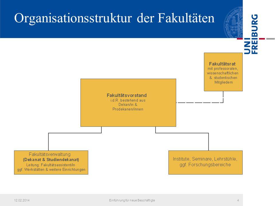 Organisationsstruktur der Fakultäten