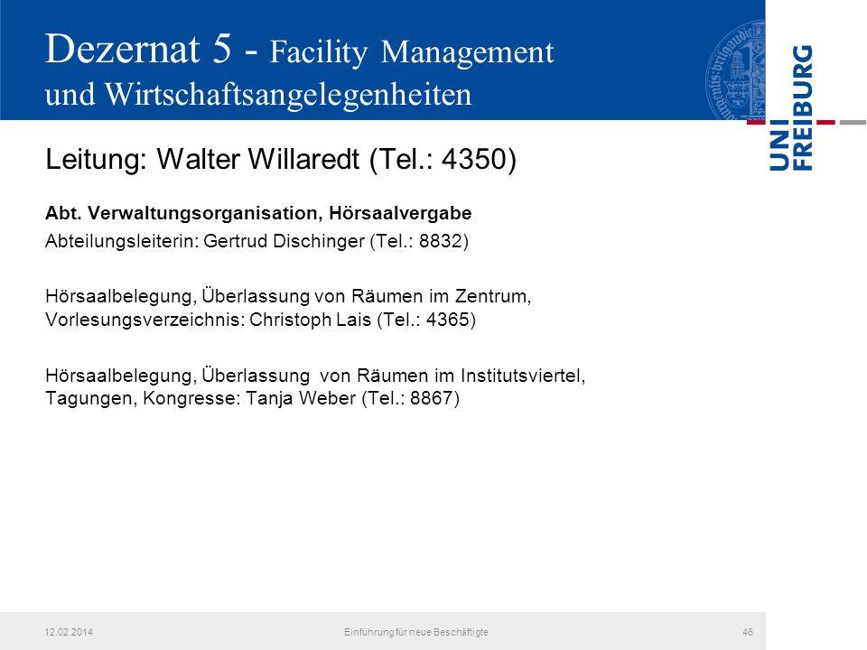 Dezernat 5 - Facility Management und Wirtschaftsangelegenheiten