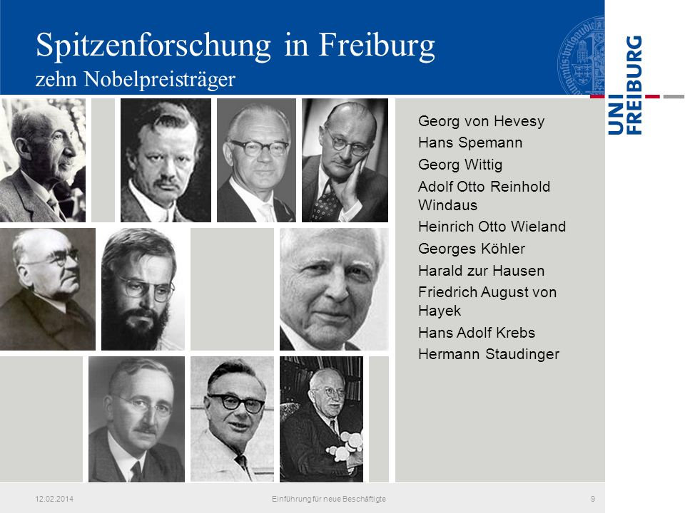 Spitzenforschung in Freiburg zehn Nobelpreisträger