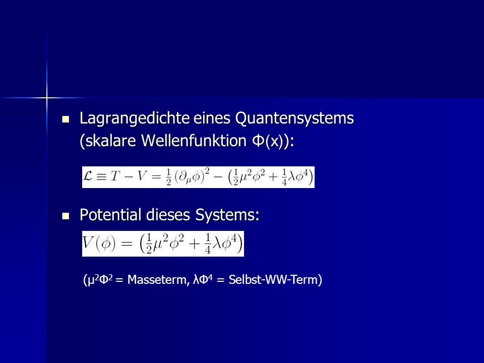 Lagrangedichte eines Quantensystems (skalare Wellenfunktion Φ(x)):