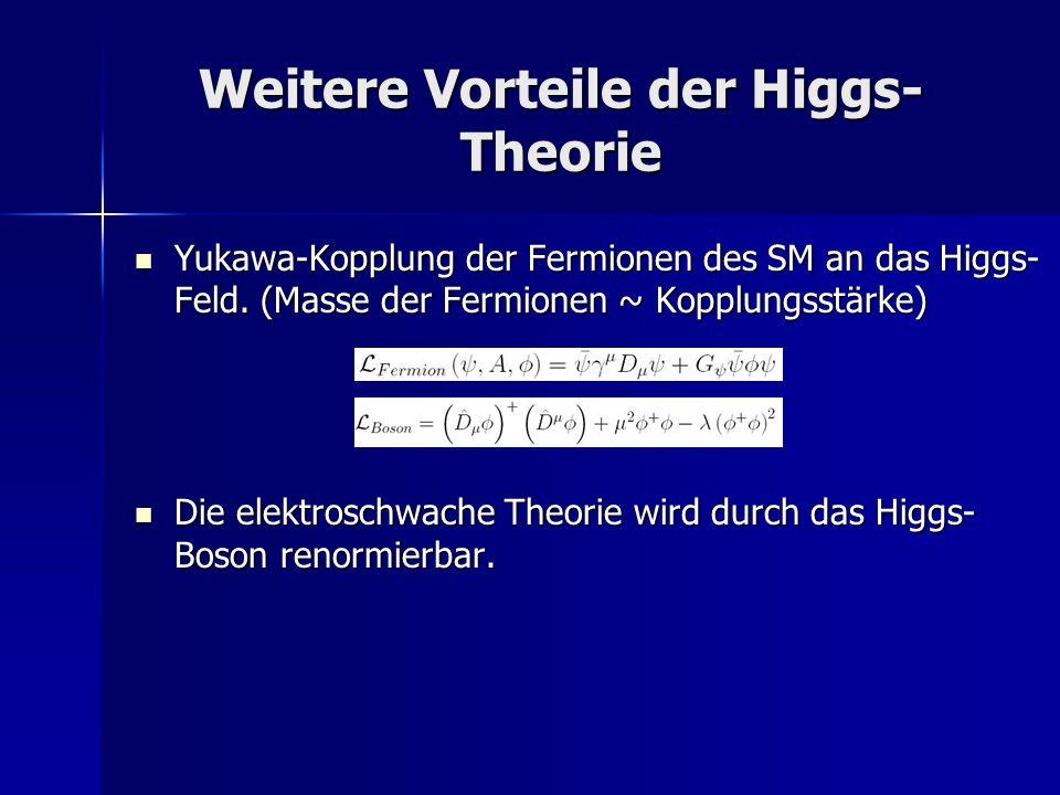 Weitere Vorteile der Higgs-Theorie
