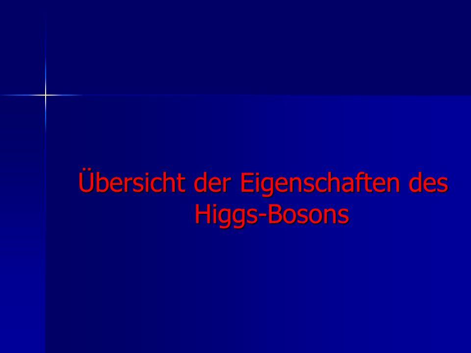Übersicht der Eigenschaften des Higgs-Bosons