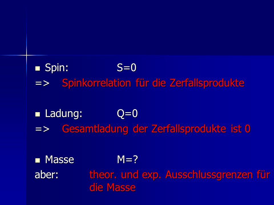 Spin: S=0 => Spinkorrelation für die Zerfallsprodukte. Ladung: Q=0. => Gesamtladung der Zerfallsprodukte ist 0.
