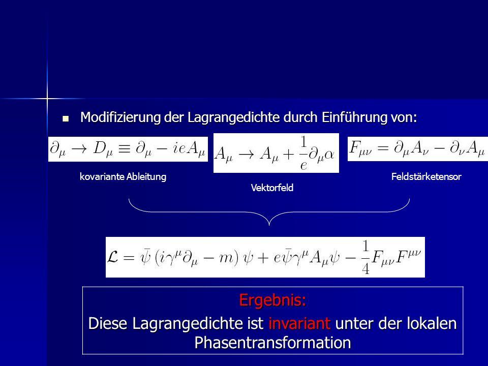 Modifizierung der Lagrangedichte durch Einführung von: