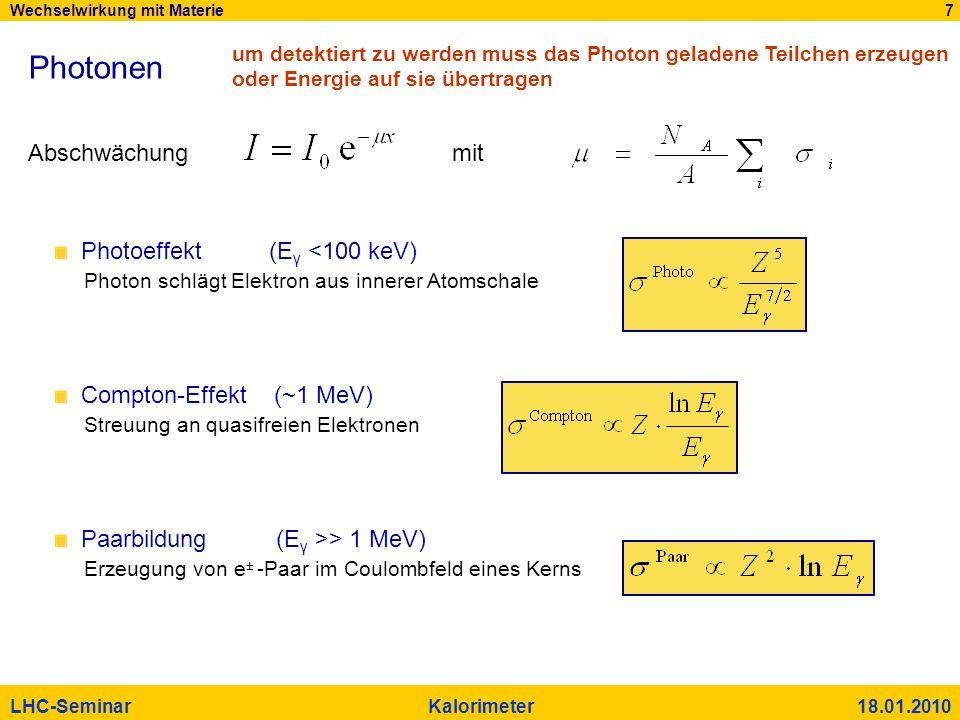 Photonen Abschwächung mit Photoeffekt (Eγ <100 keV)