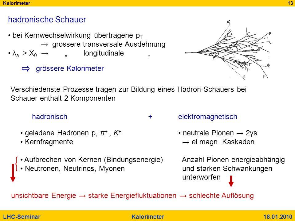 hadronische Schauer bei Kernwechselwirkung übertragene pT