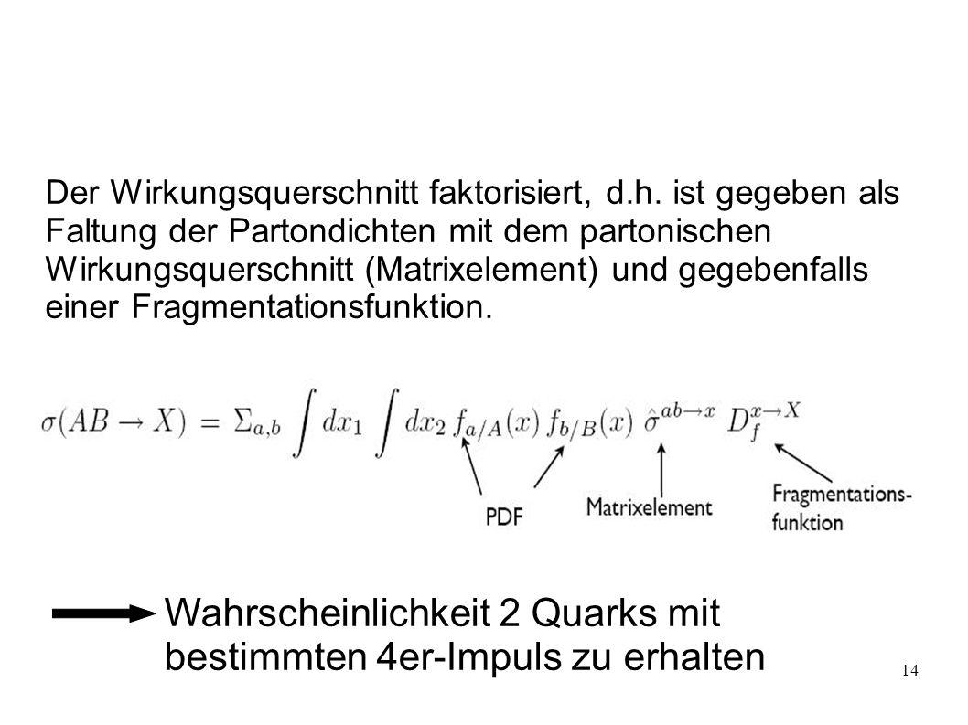 Wahrscheinlichkeit 2 Quarks mit bestimmten 4er-Impuls zu erhalten