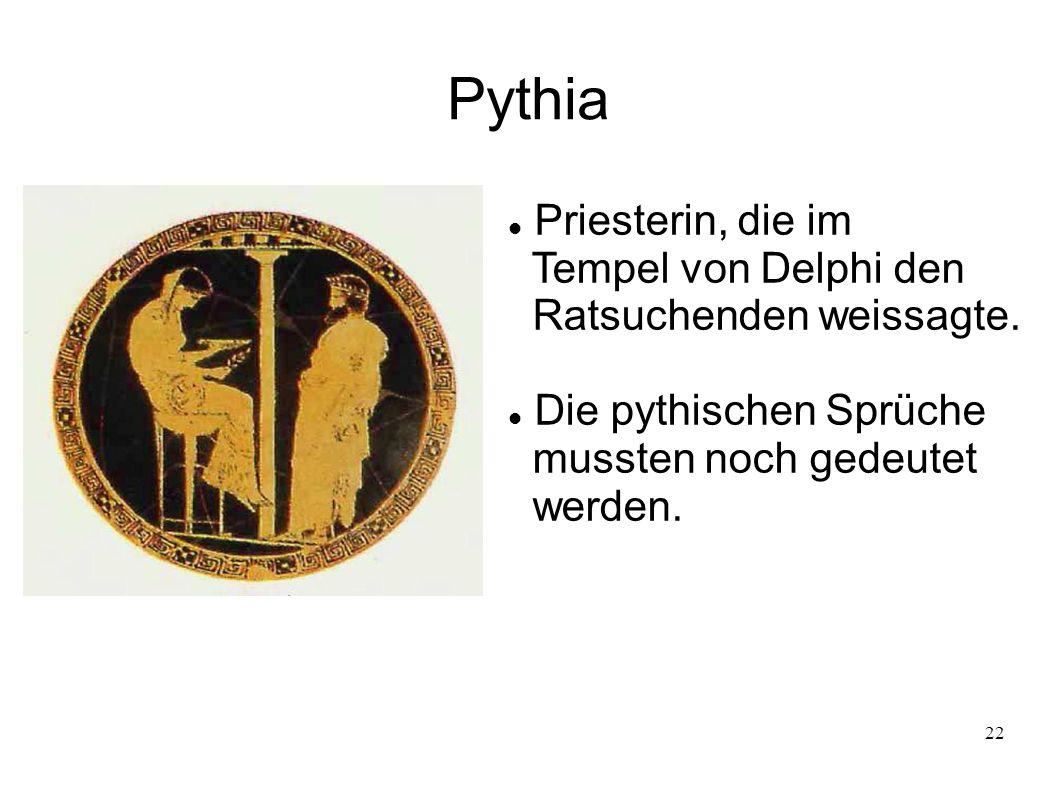 Pythia Priesterin, die im Tempel von Delphi den