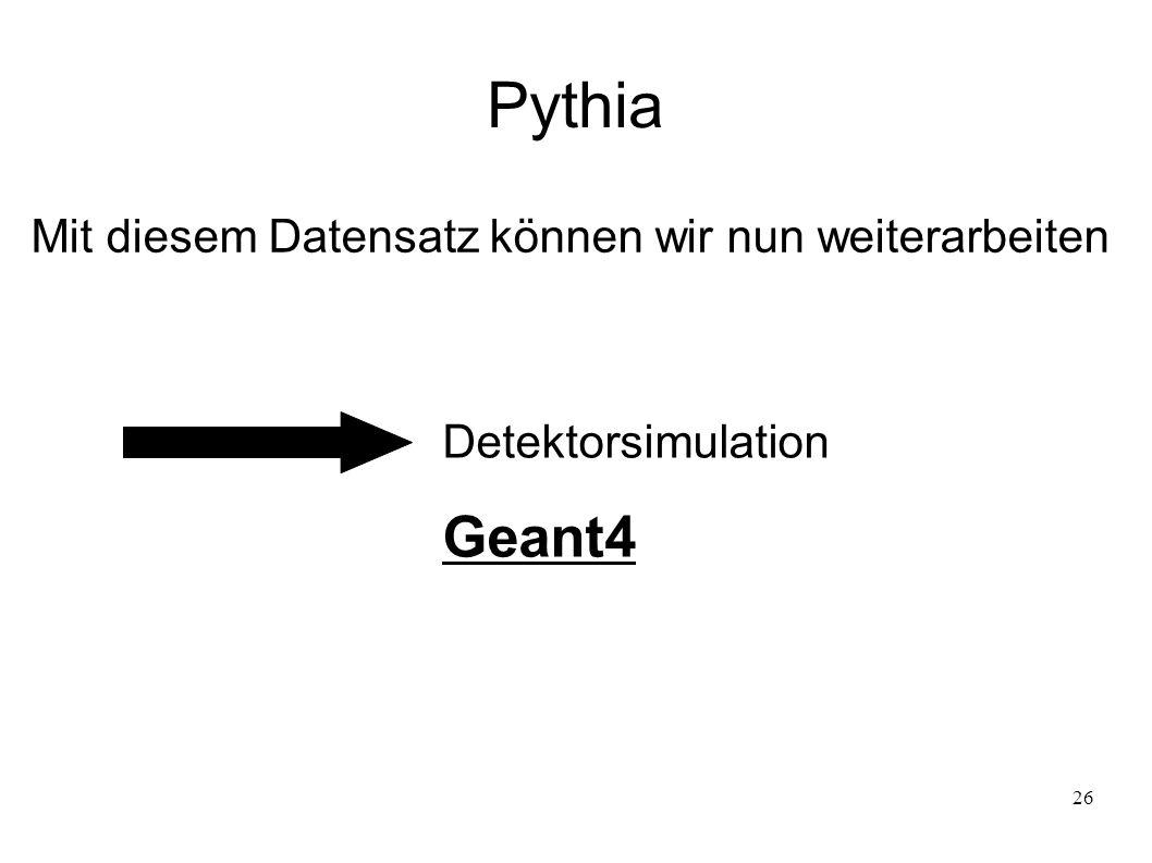 Pythia Geant4 Mit diesem Datensatz können wir nun weiterarbeiten