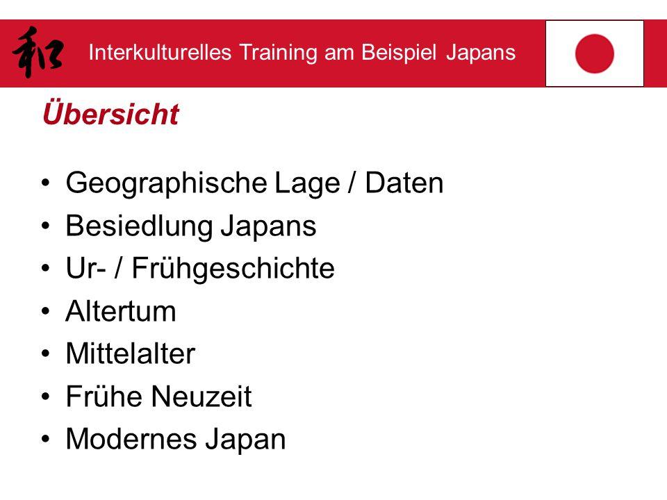 Übersicht Geographische Lage / Daten. Besiedlung Japans. Ur- / Frühgeschichte. Altertum. Mittelalter.
