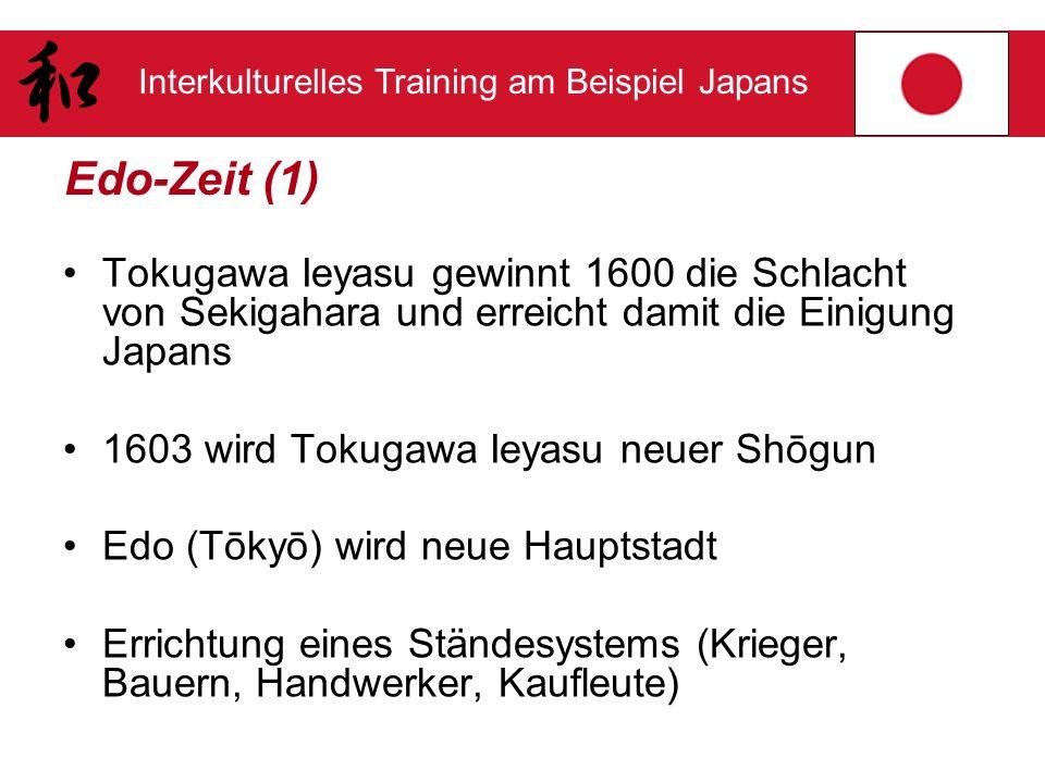 Edo-Zeit (1) Tokugawa Ieyasu gewinnt 1600 die Schlacht von Sekigahara und erreicht damit die Einigung Japans.
