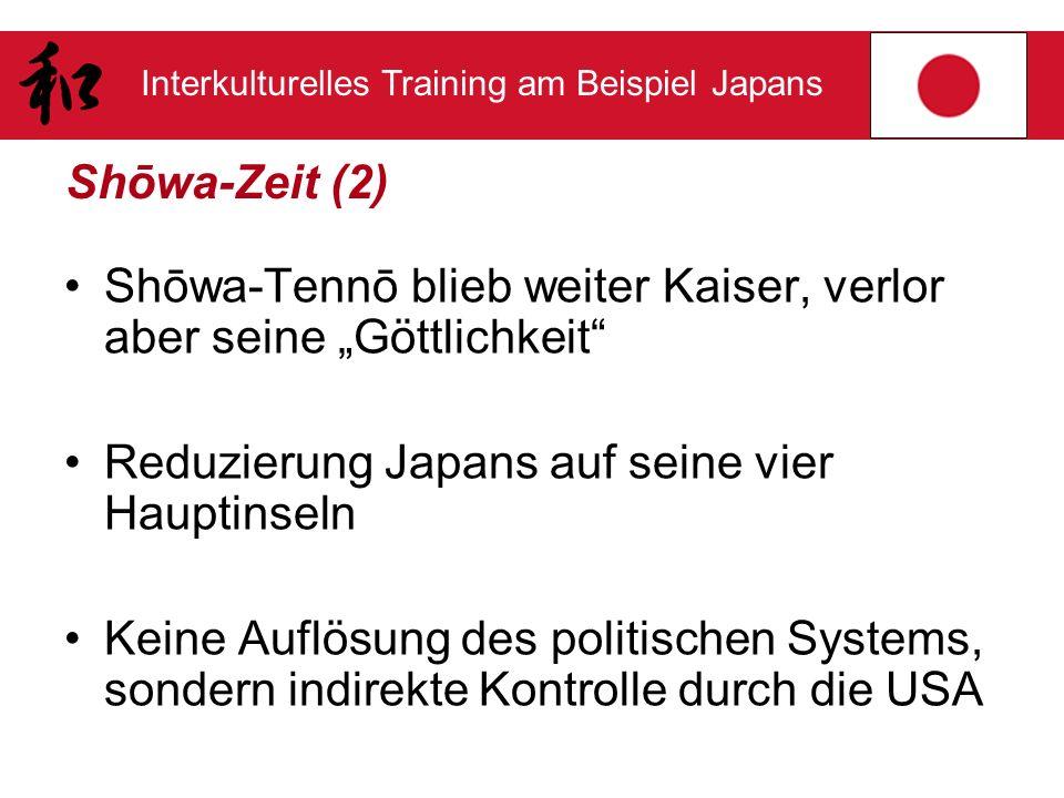 """Shōwa-Zeit (2) Shōwa-Tennō blieb weiter Kaiser, verlor aber seine """"Göttlichkeit Reduzierung Japans auf seine vier Hauptinseln."""