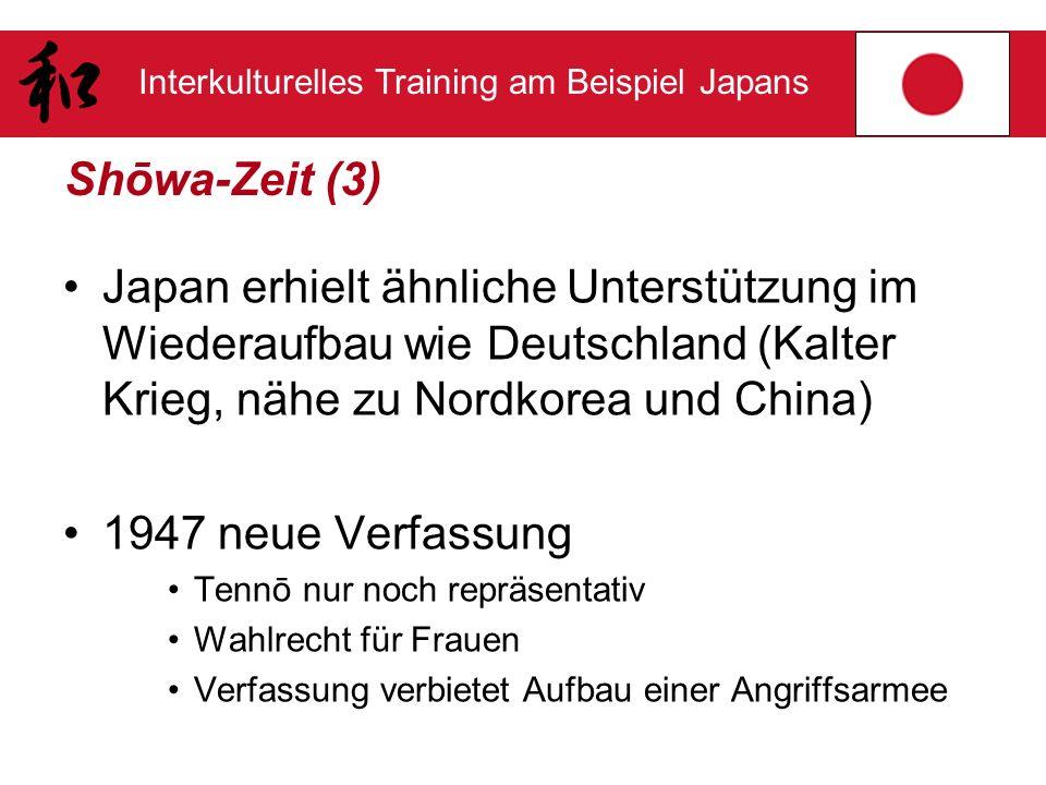 Shōwa-Zeit (3) Japan erhielt ähnliche Unterstützung im Wiederaufbau wie Deutschland (Kalter Krieg, nähe zu Nordkorea und China)