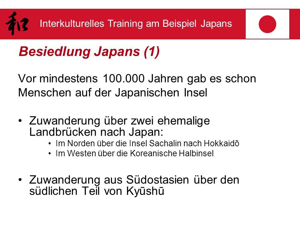 Besiedlung Japans (1) Vor mindestens 100.000 Jahren gab es schon