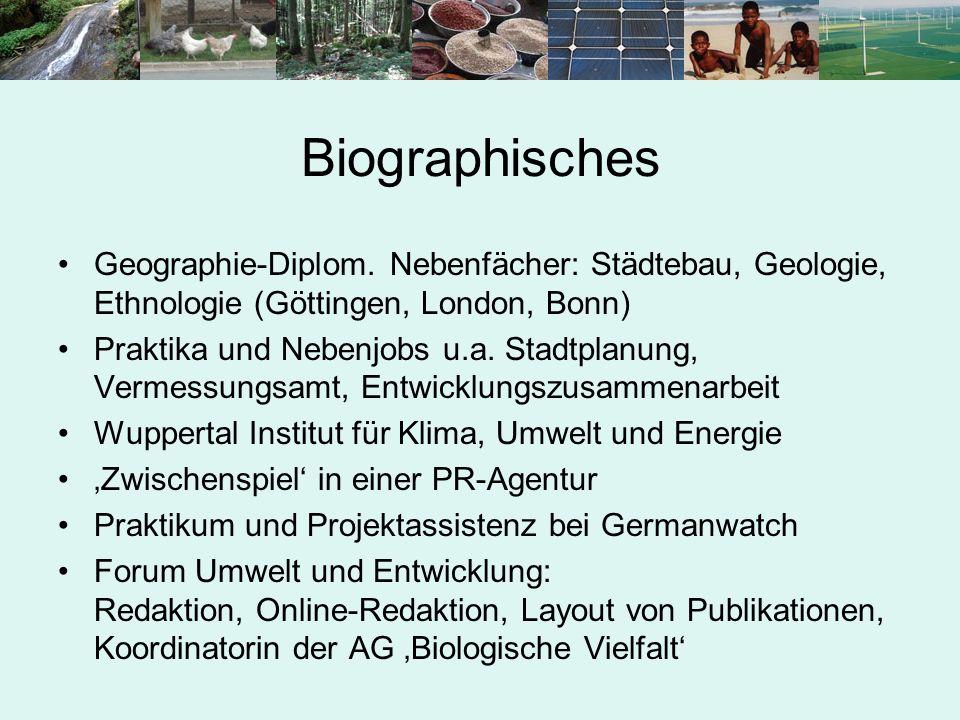 Biographisches Geographie-Diplom. Nebenfächer: Städtebau, Geologie, Ethnologie (Göttingen, London, Bonn)