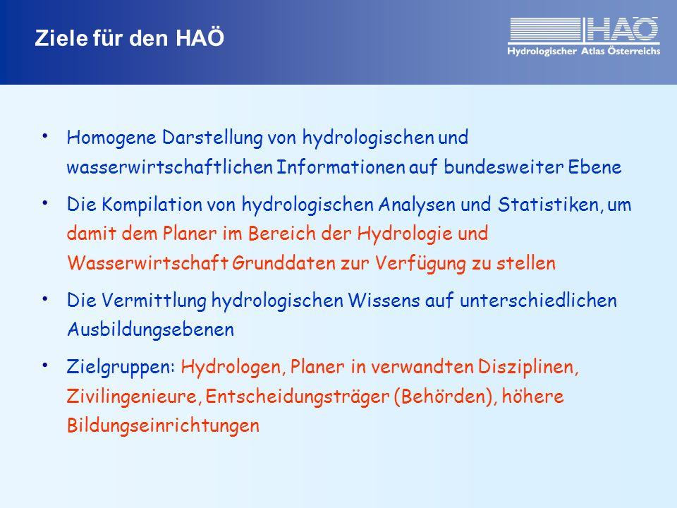 Ziele für den HAÖ Homogene Darstellung von hydrologischen und wasserwirtschaftlichen Informationen auf bundesweiter Ebene.