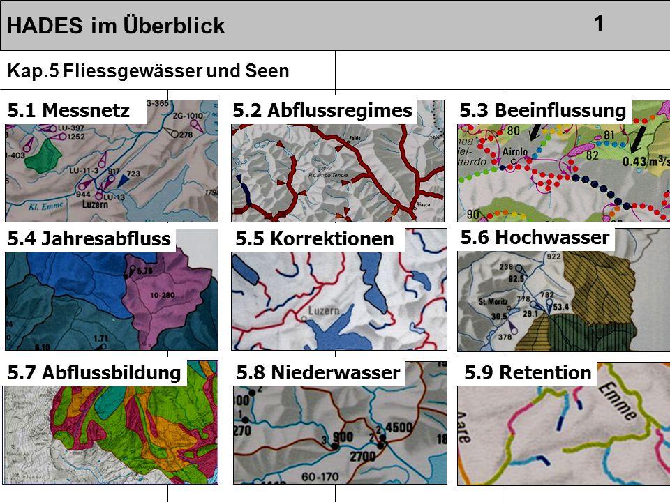 1 HADES im Überblick Kap.5 Fliessgewässer und Seen 5.1 Messnetz