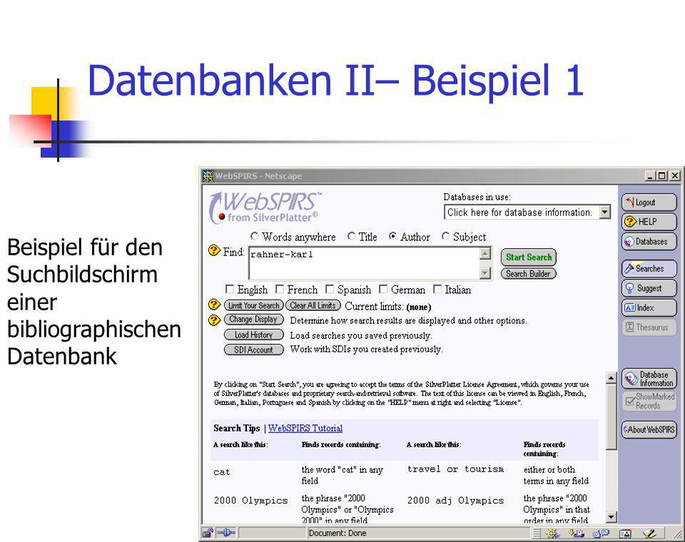 Datenbanken II– Beispiel 1