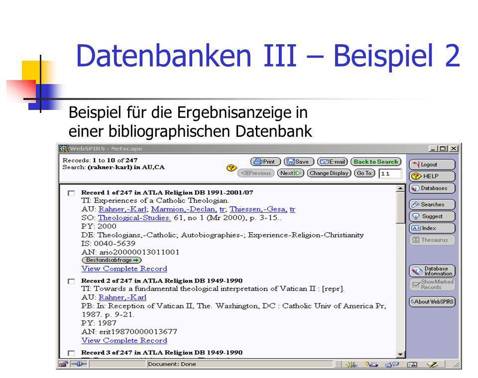 Datenbanken III – Beispiel 2