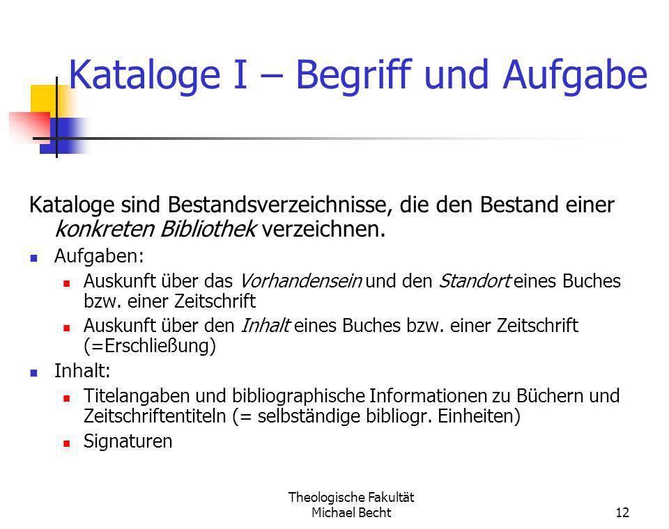 Kataloge I – Begriff und Aufgabe