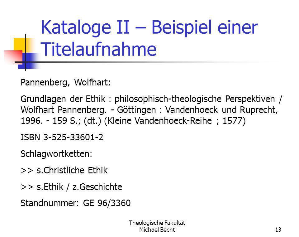 Kataloge II – Beispiel einer Titelaufnahme