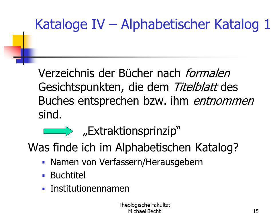 Kataloge IV – Alphabetischer Katalog 1