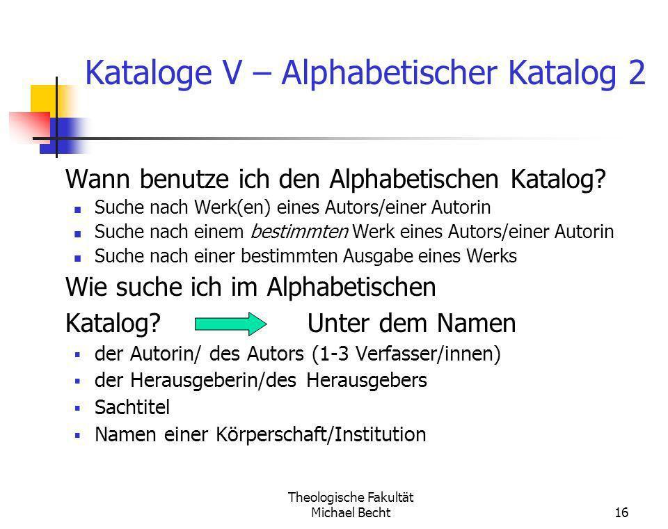 Kataloge V – Alphabetischer Katalog 2