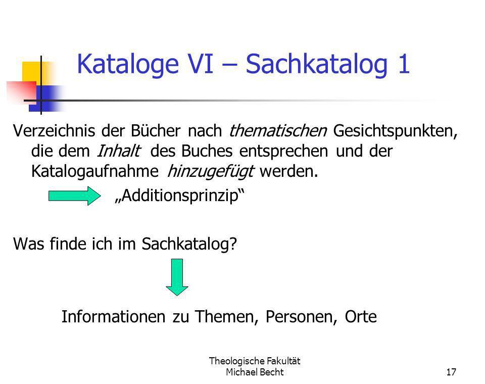 Kataloge VI – Sachkatalog 1