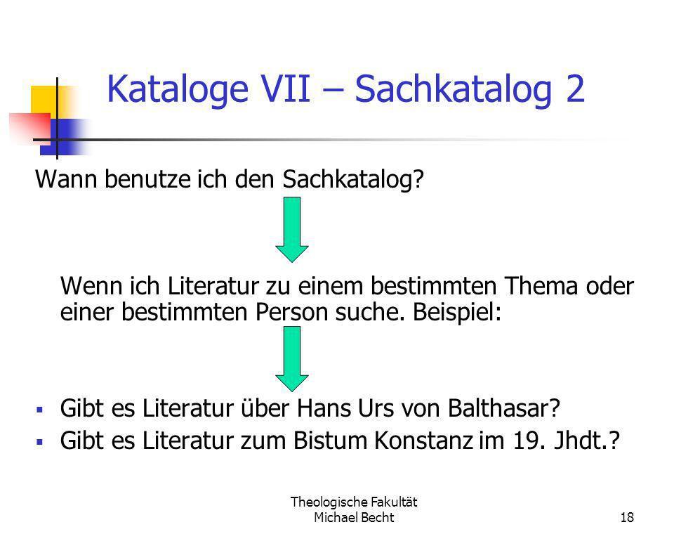 Kataloge VII – Sachkatalog 2