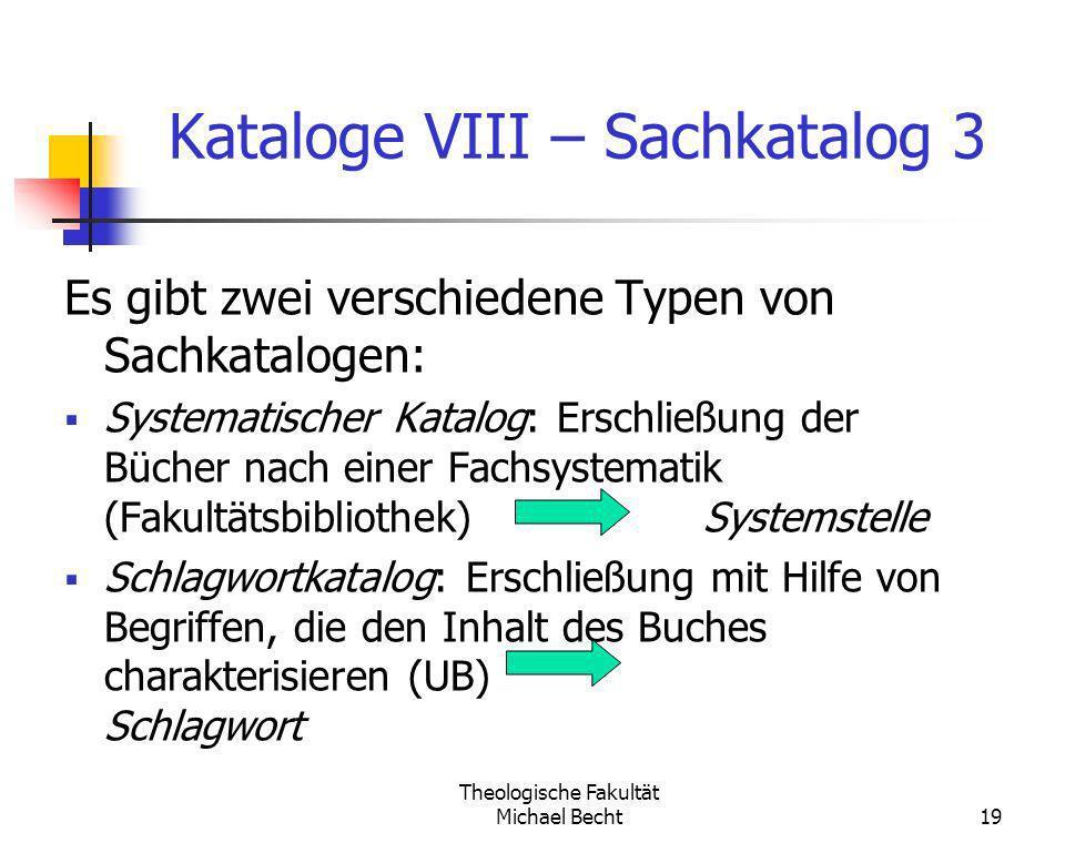 Kataloge VIII – Sachkatalog 3