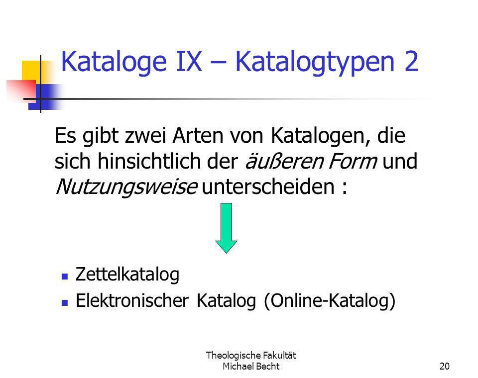 Kataloge IX – Katalogtypen 2