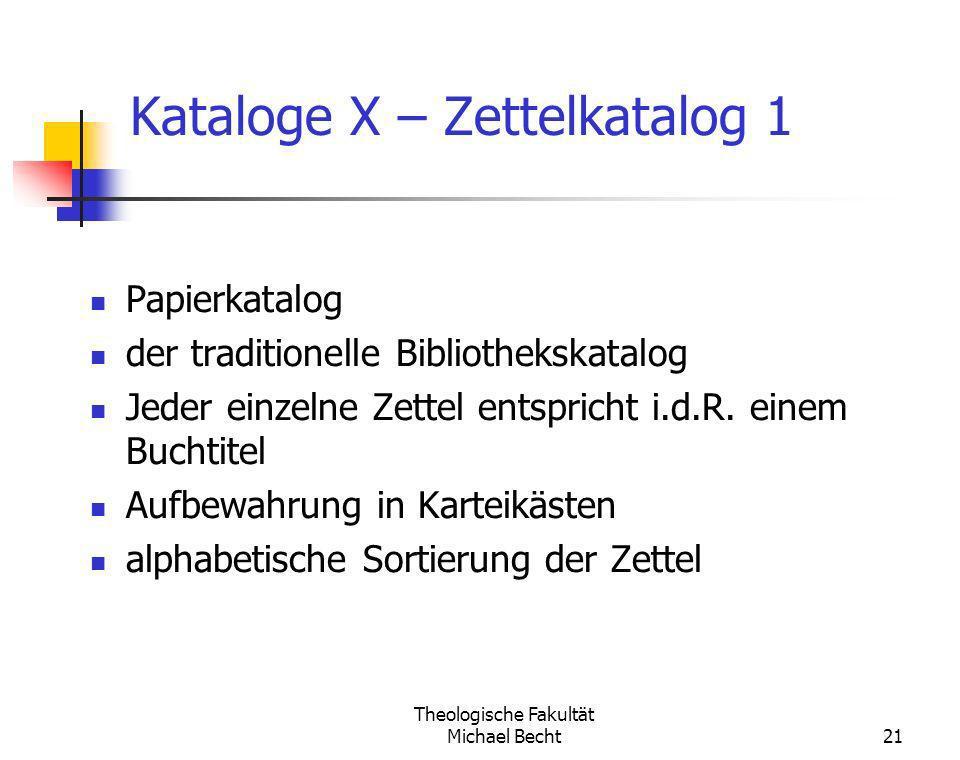 Kataloge X – Zettelkatalog 1