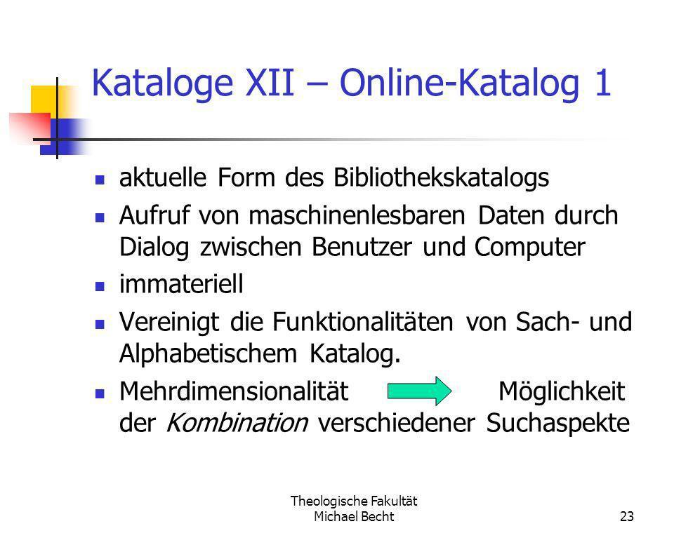 Kataloge XII – Online-Katalog 1