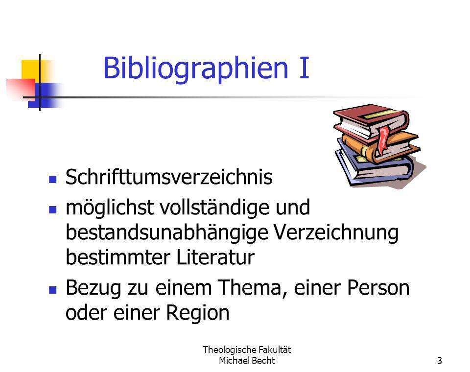 Theologische Fakultät Michael Becht