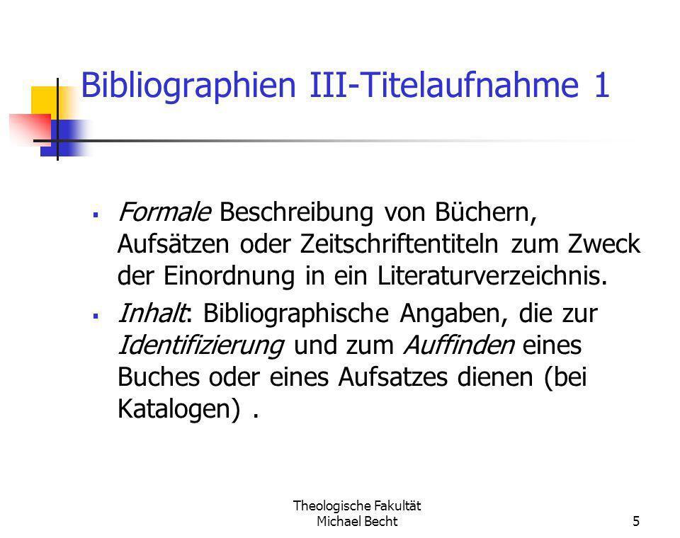 Bibliographien III-Titelaufnahme 1