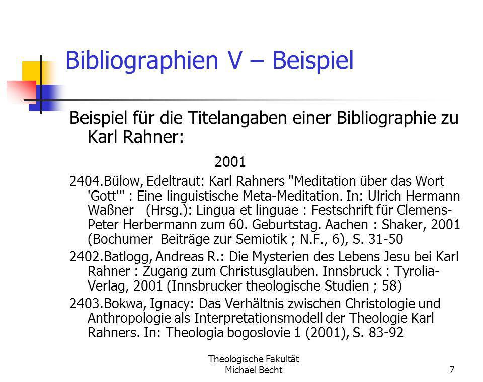 Bibliographien V – Beispiel