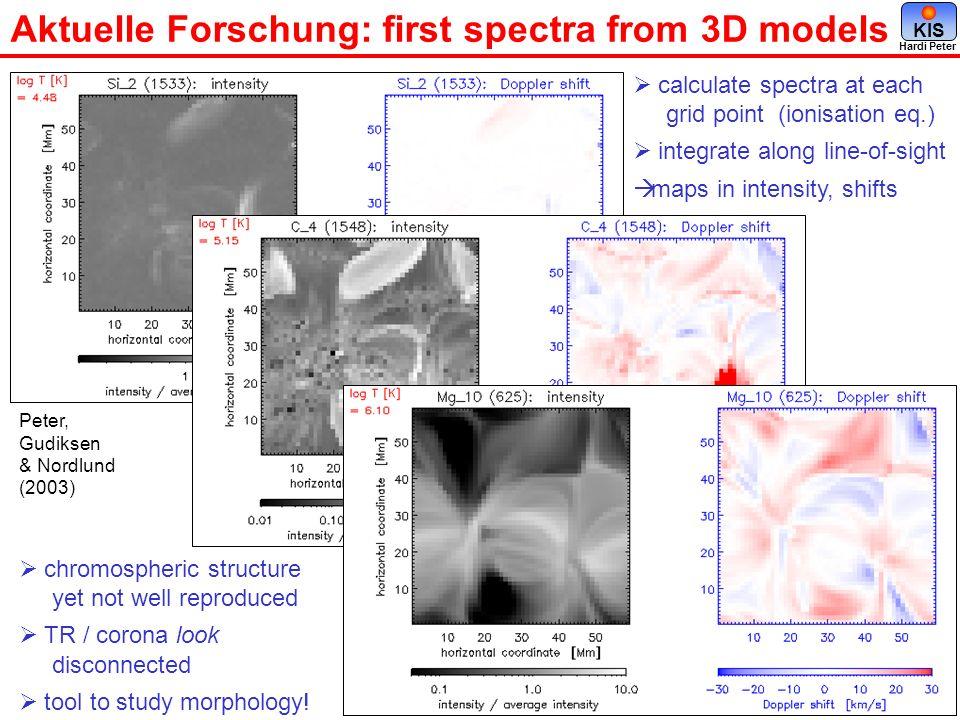 Aktuelle Forschung: first spectra from 3D models