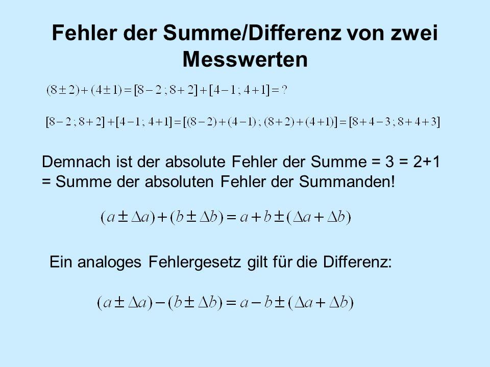 Fehler der Summe/Differenz von zwei Messwerten
