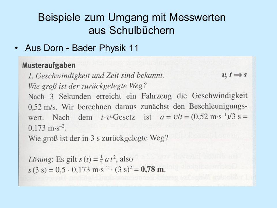 Beispiele zum Umgang mit Messwerten aus Schulbüchern