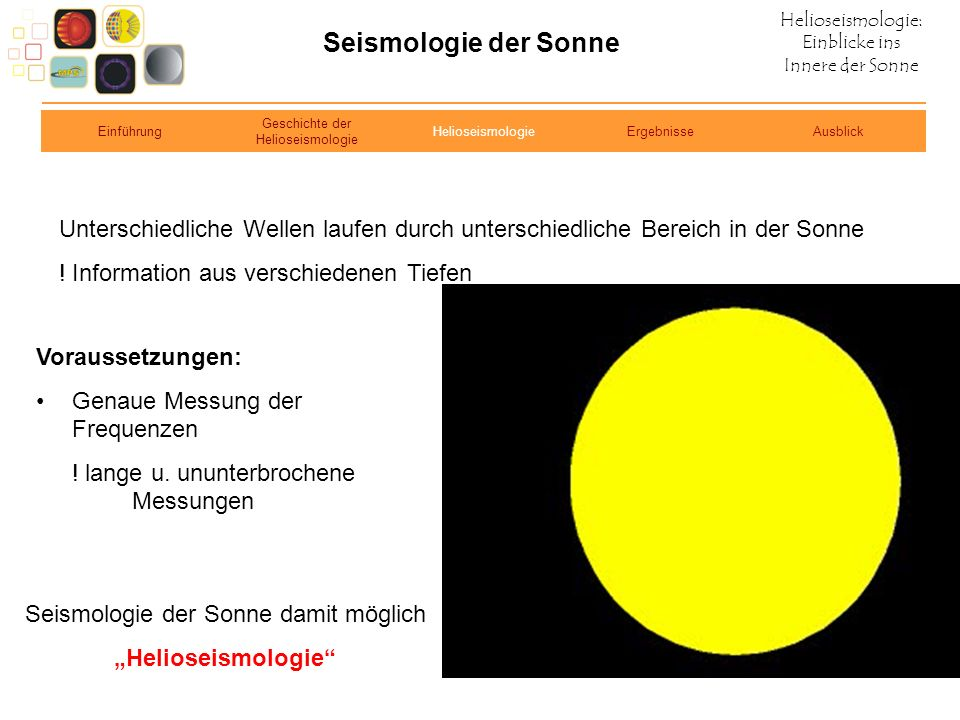 Seismologie der Sonne Einführung. Geschichte der Helioseismologie. Helioseismologie. Ergebnisse.