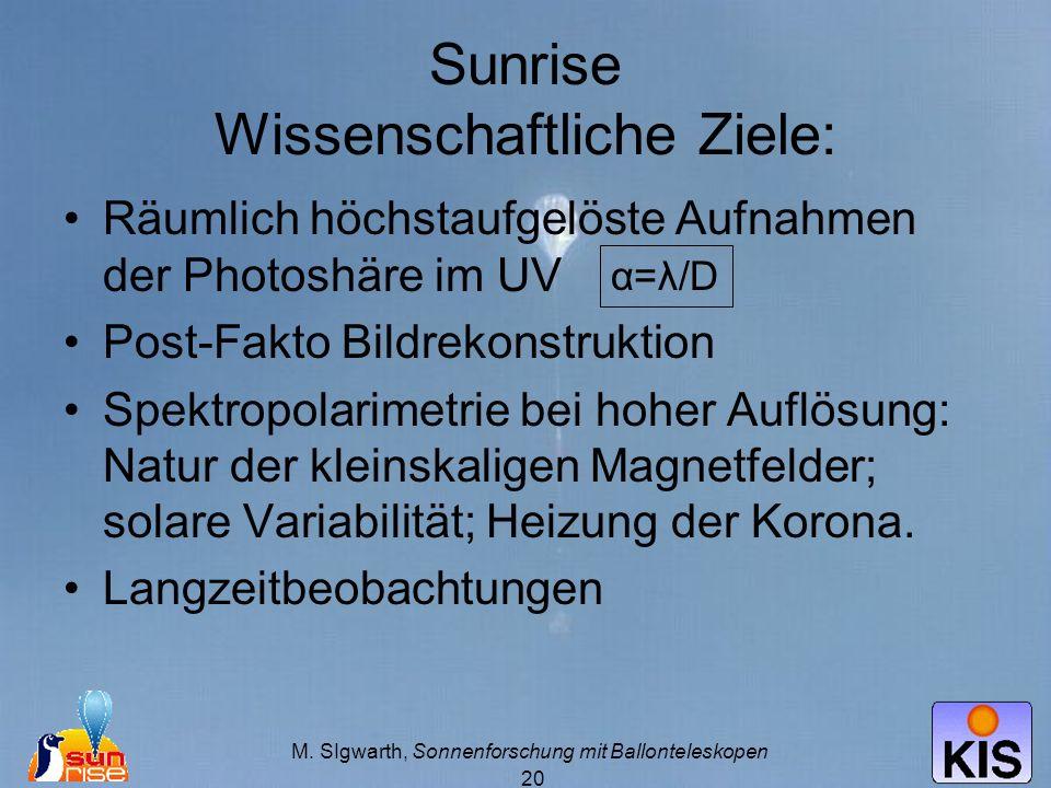 Sunrise Wissenschaftliche Ziele:
