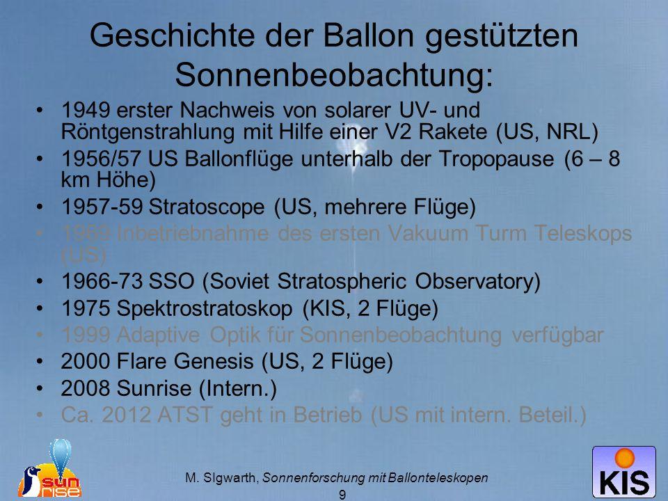 Geschichte der Ballon gestützten Sonnenbeobachtung: