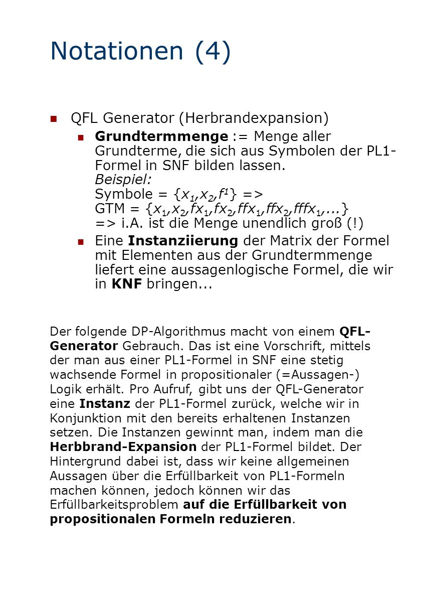 Notationen (4) QFL Generator (Herbrandexpansion)