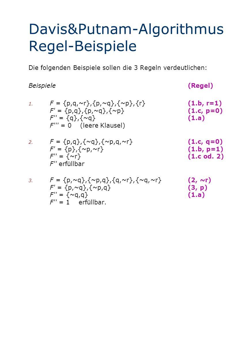 Davis&Putnam-Algorithmus Regel-Beispiele