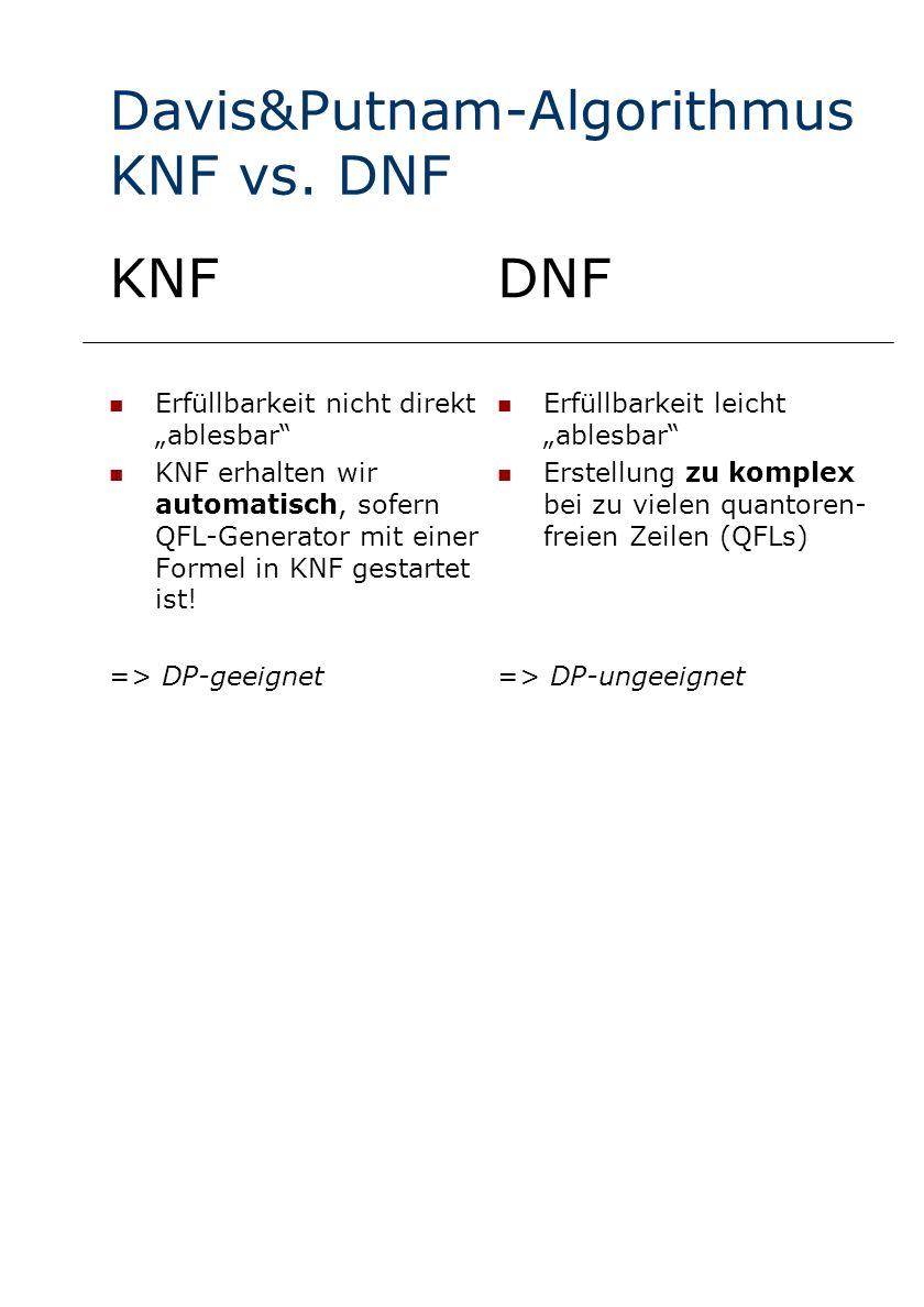 Davis&Putnam-Algorithmus KNF vs. DNF