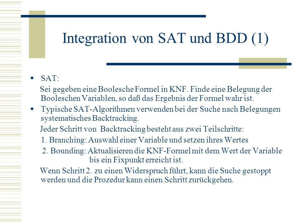 Integration von SAT und BDD (1)