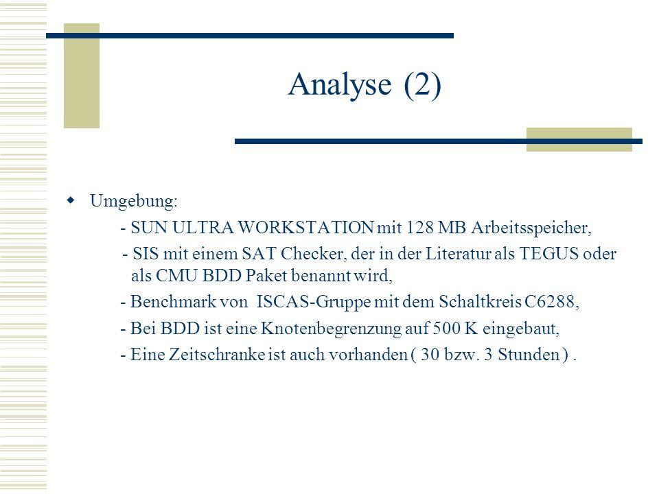 Analyse (2) Umgebung: - SUN ULTRA WORKSTATION mit 128 MB Arbeitsspeicher,