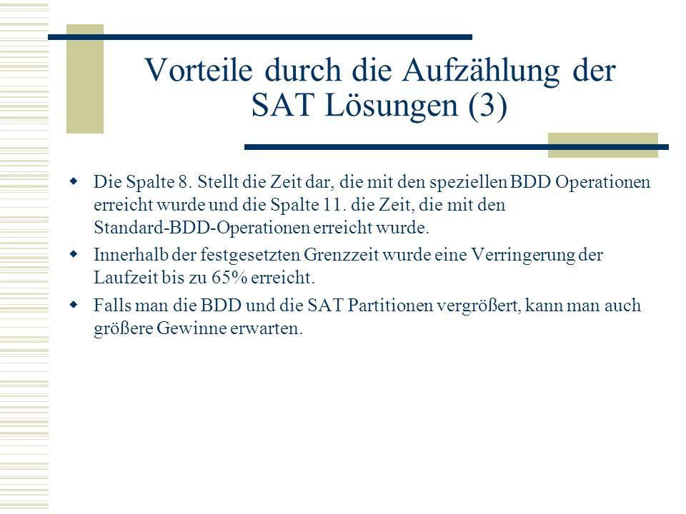 Vorteile durch die Aufzählung der SAT Lösungen (3)