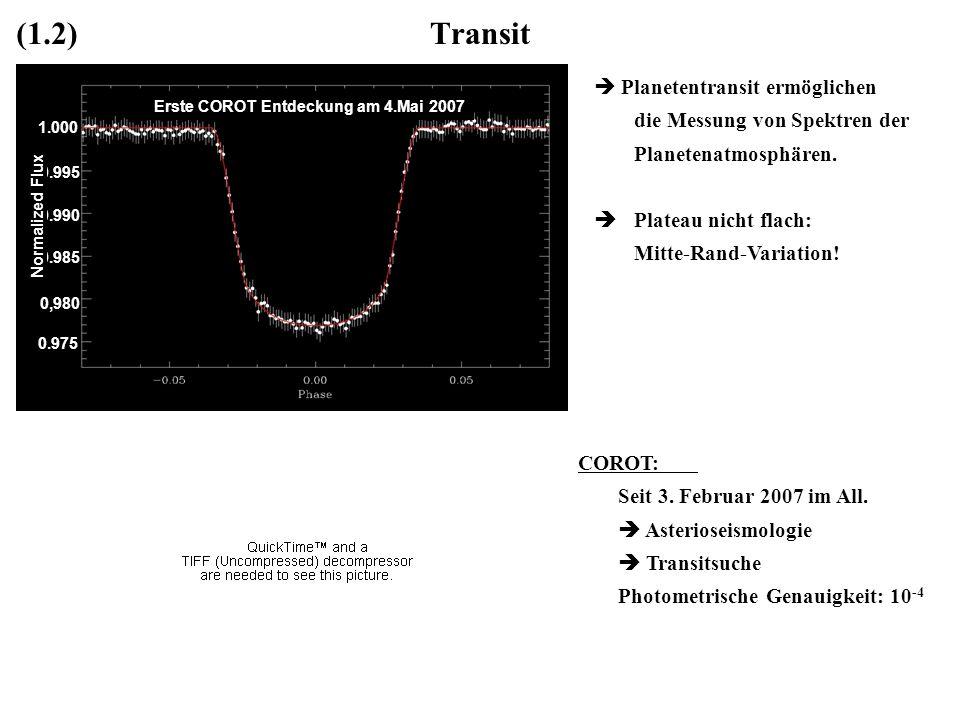 (1.2) Transit Planetentransit ermöglichen